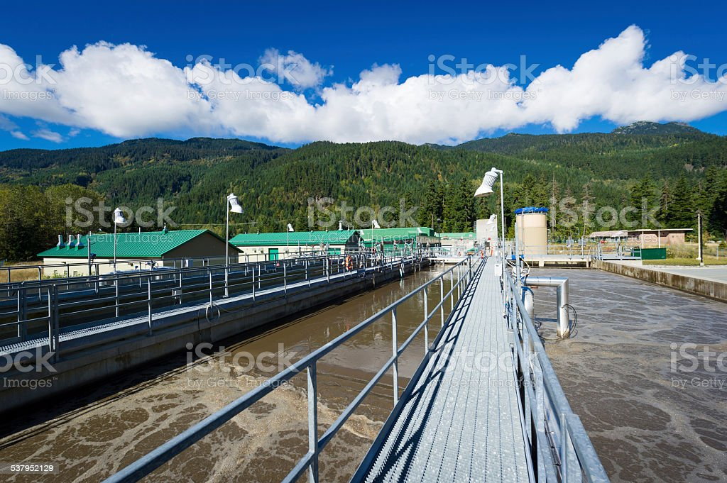 Waste water treatment facility stock photo