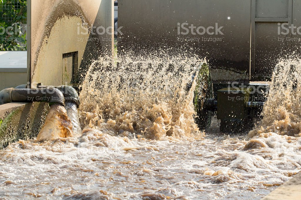 Waste water treatment plant. stock photo