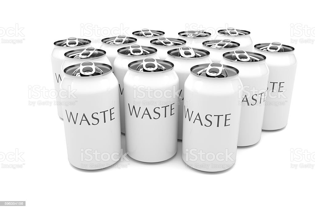 Waste: White Aluminum Beverage Cans Isolated, 3d illustration royalty-free stock photo