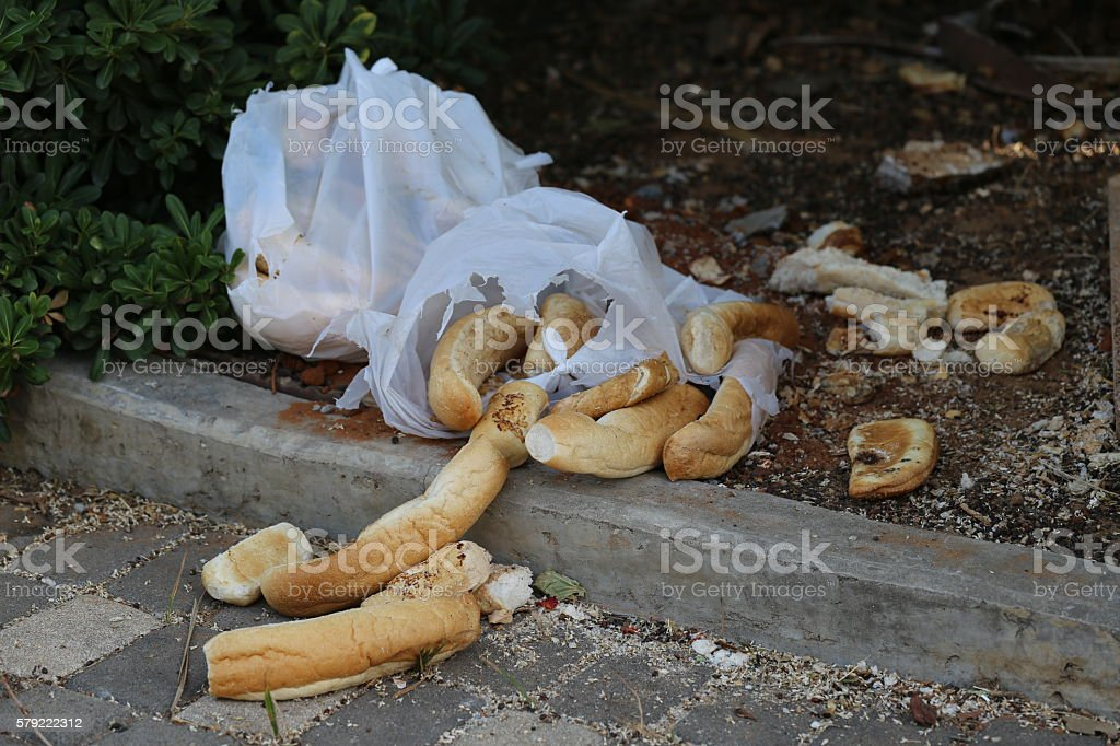 Wasted Bread Rolls stock photo