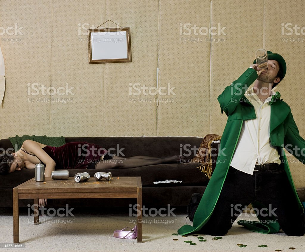 wasted leprechaun stock photo