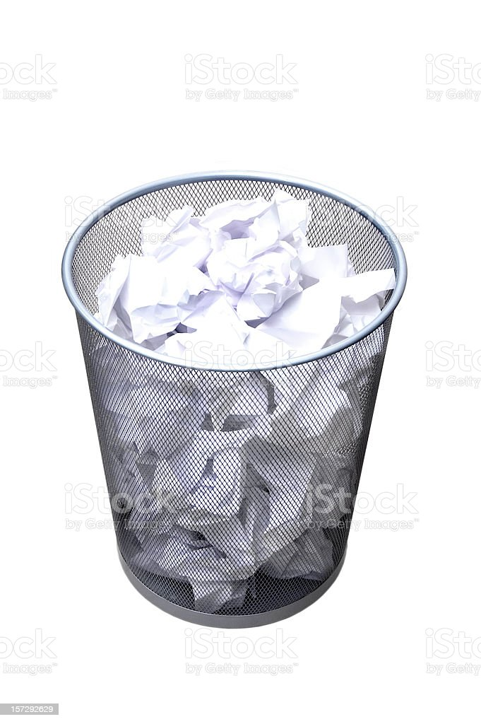Wastepaper basket full royalty-free stock photo