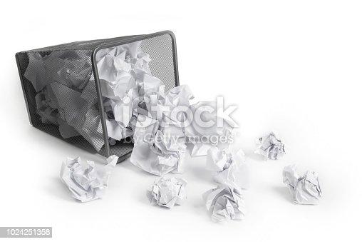 Wastepaper Basket Tumbled, on white background.