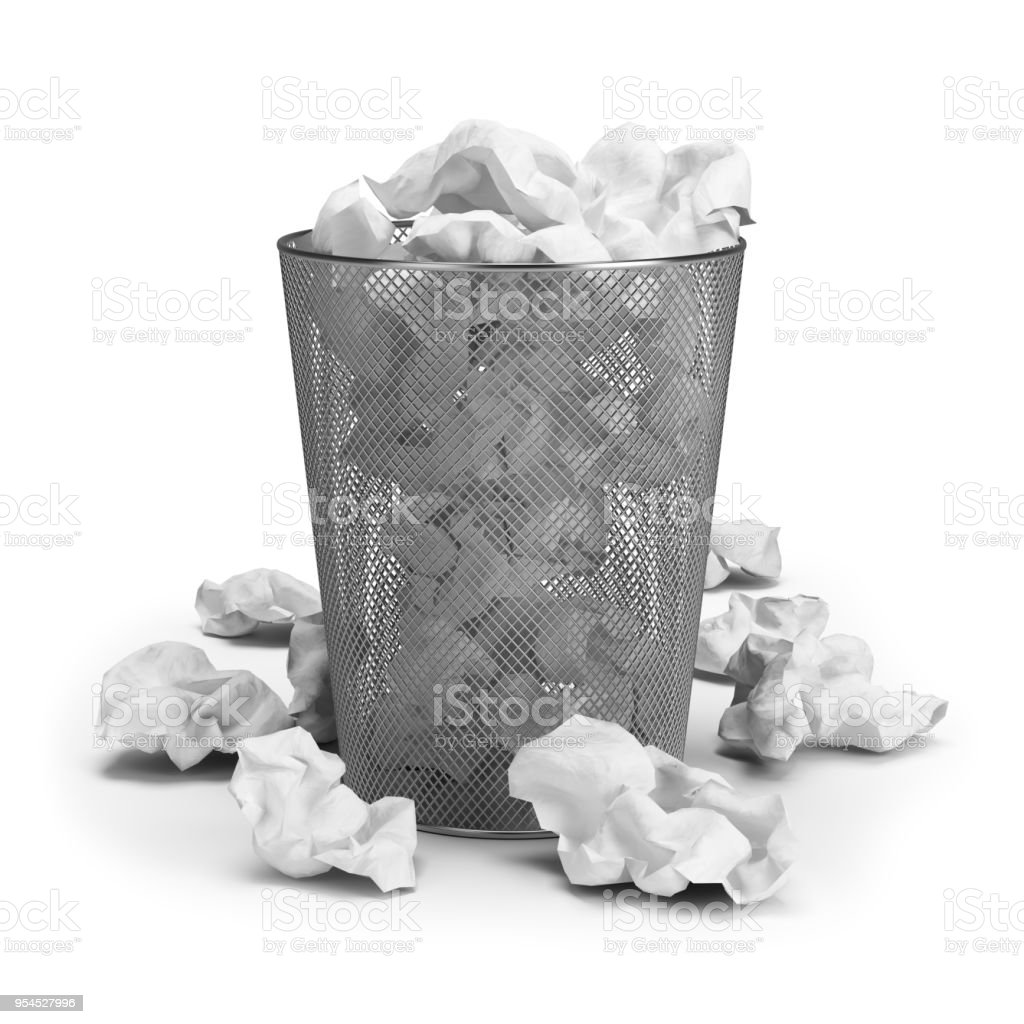 Wastepaper basket with paper waste. 3d image. White background. стоковое фото