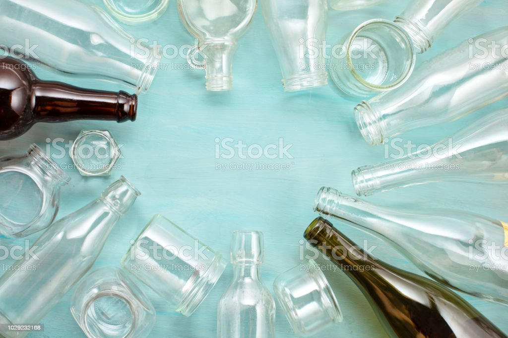 Wastes of different glass containers ready for recycling stock photo