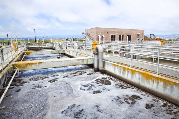 Wastewater Aeration at a Wastewater Treatment Plant stock photo