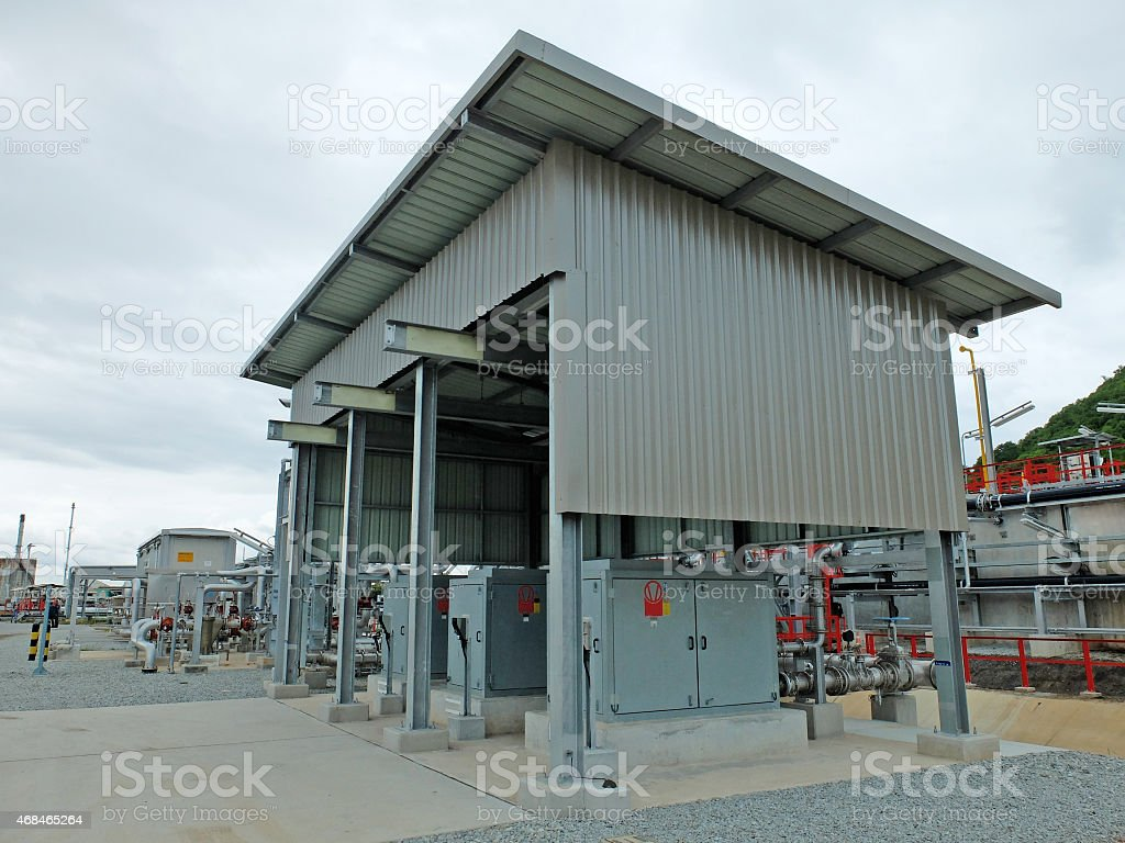 Wastewater Treatment Control Station in Refinery stock photo