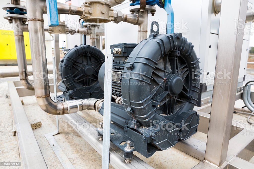 Wastewater treatment plant electrical motor foto royalty-free