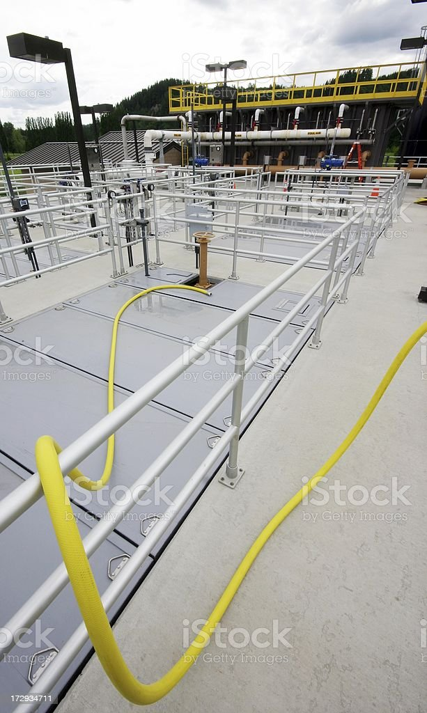 Wastewater Treatment Plant - Tank Railings royalty-free stock photo