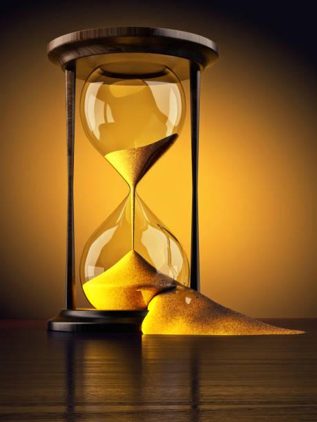 verspilling van tijd concept, gebrek aan tijd, tijd verloren en tijd beheer - zandloper icoon stockfoto's en -beelden