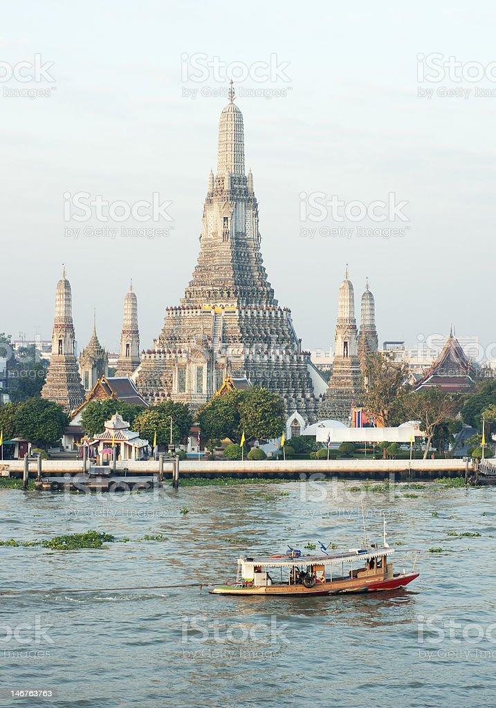 Wat Arun at Chao Phraya River, Bangkok, Thailand royalty-free stock photo