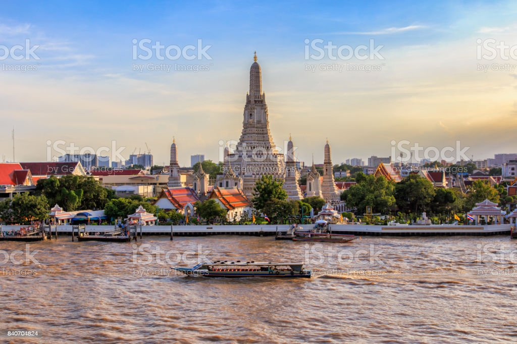 Wat Arun big landmark in Bangkok City, Thailand stock photo