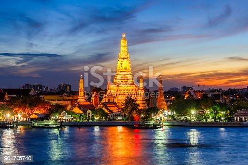 Wat Arun Buddhist religious places in twilight time, Bangkok, Thailand