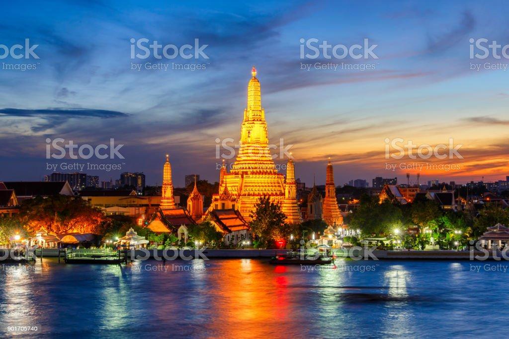 Wat Arun Buddhist religious places in twilight time, Bangkok, Thailand stock photo