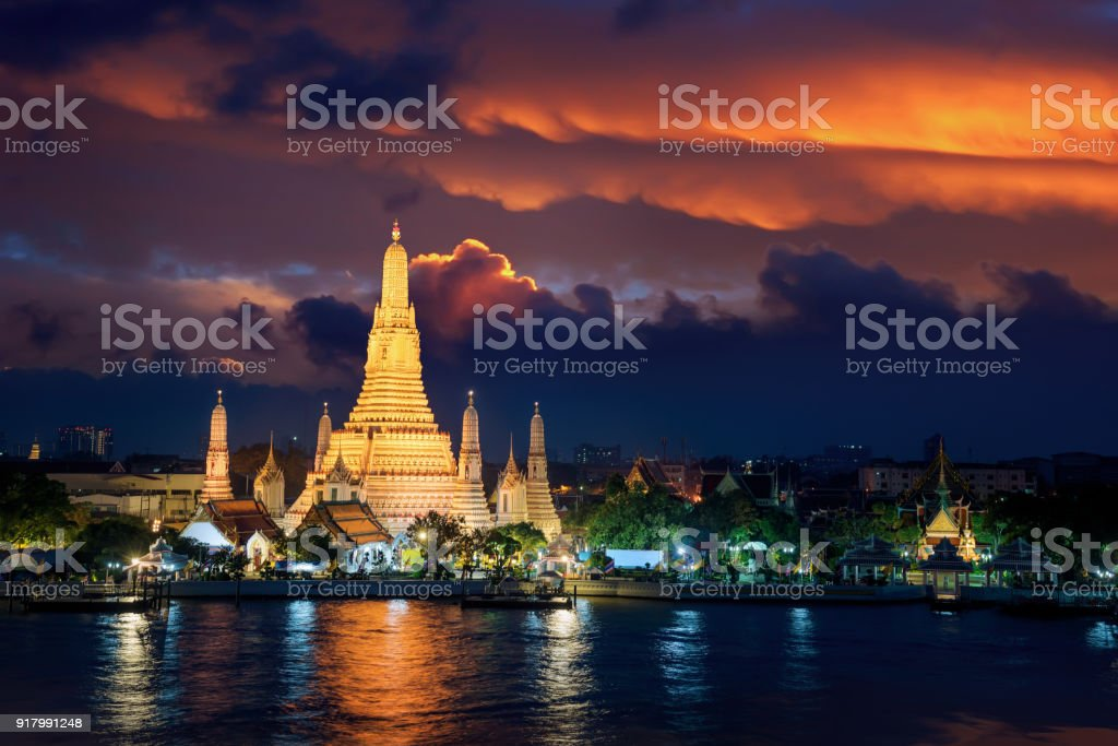 Wat Arun is icon of temple in Bangkok and Thailand stock photo
