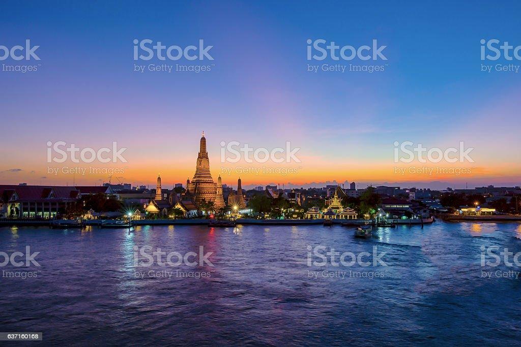 Wat Arun night view Temple in bangkok, Thailand stock photo