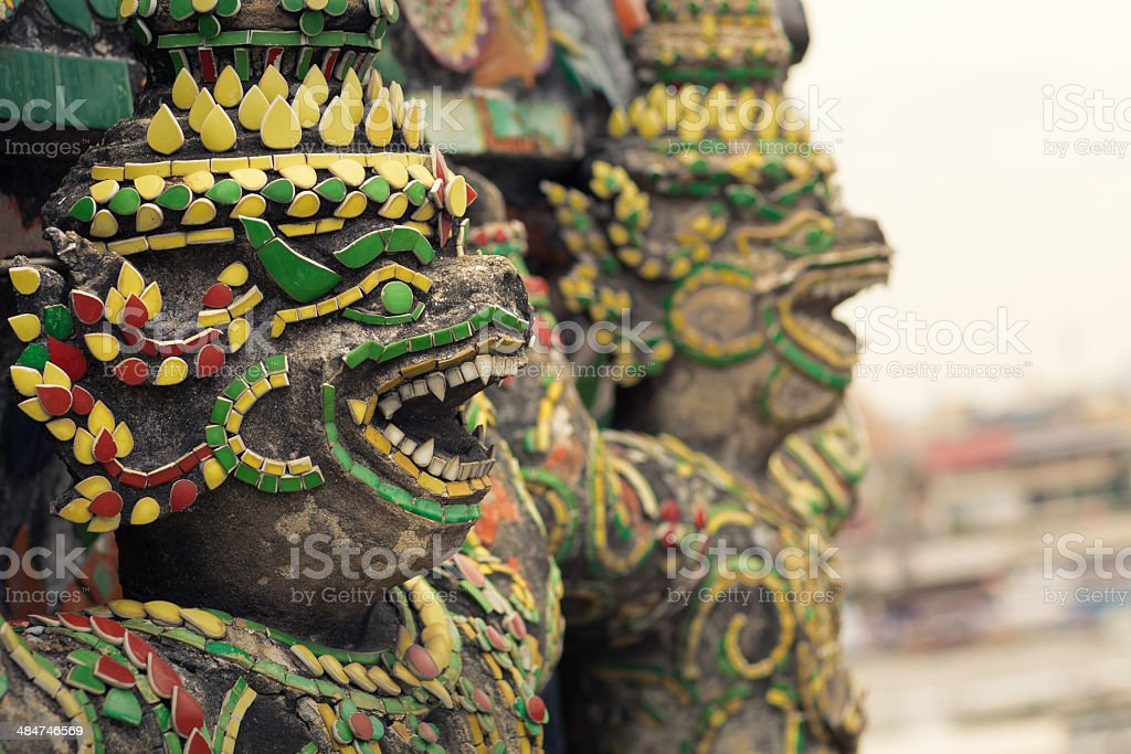 Wat Arun sculptures royalty-free stock photo
