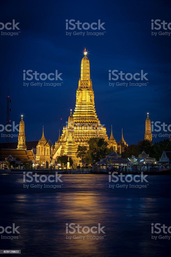Wat Arun Temple at Dusk and Illuminated stock photo