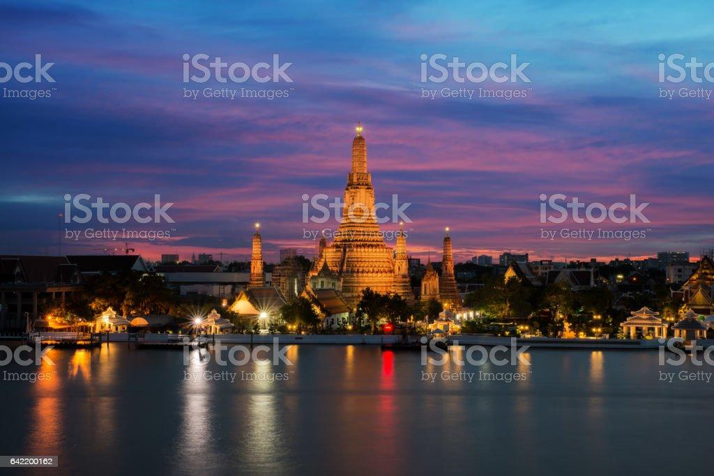 Wat Arun temple at night in Bangkok, Thailand stock photo