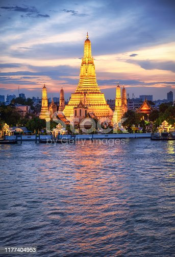Wat Arun Temple at sunset in Bangkok vertical with copy space