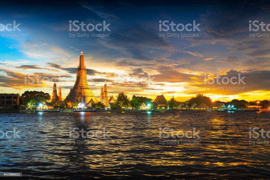 Wat Arun temple at sunset stock photo