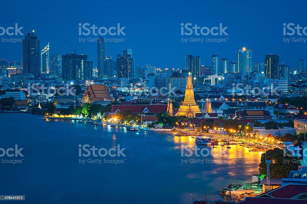 Wat arun ,temple at twilight, bangkok, Thailand temple stock photo