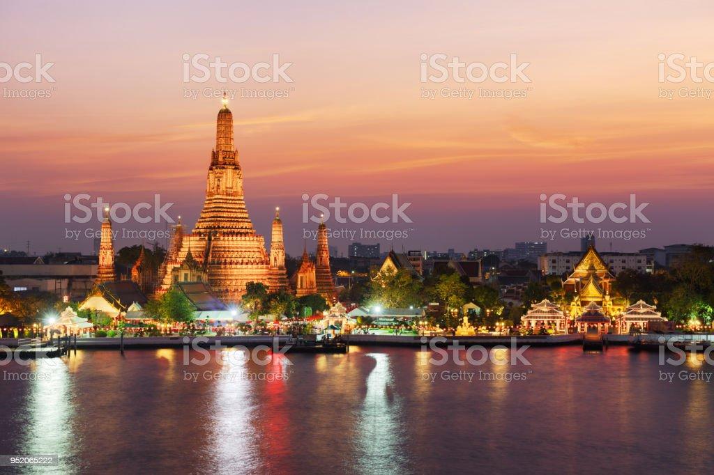 Wat Arun Temple at twilight in Bangkok, Thailand stock photo