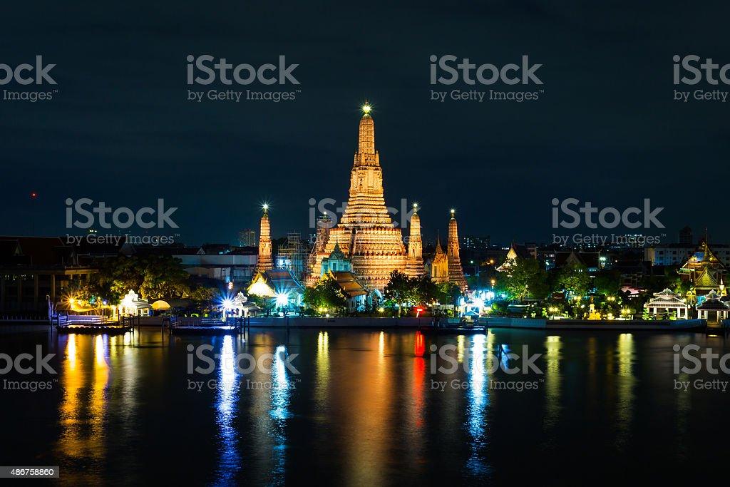 Wat Arun Temple in bangkok thailand at twilight. stock photo