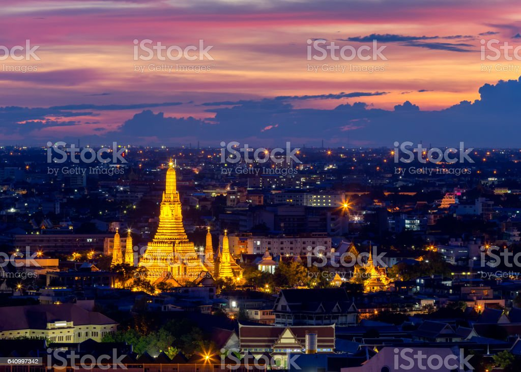 Wat Arun Temple of a dawn  in Bangkok Thailand .Bangkok is the most populated city in Southeast Asia. Bangkok , Thailand stock photo
