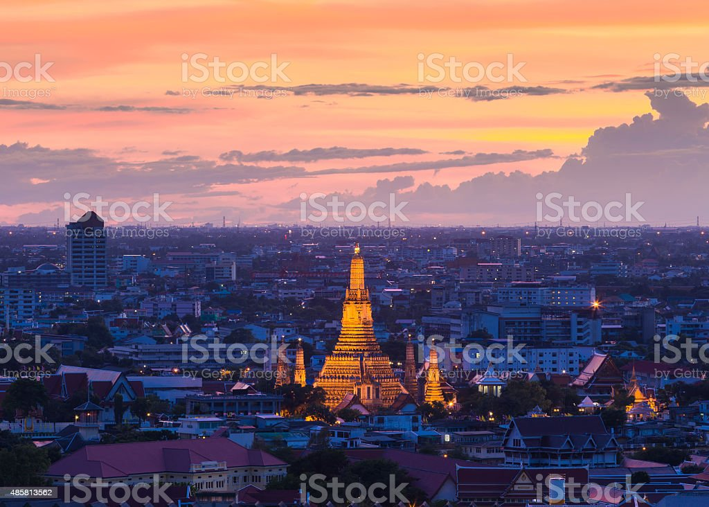 Wat Arun temple of a dawn in top view  , Thailand stock photo