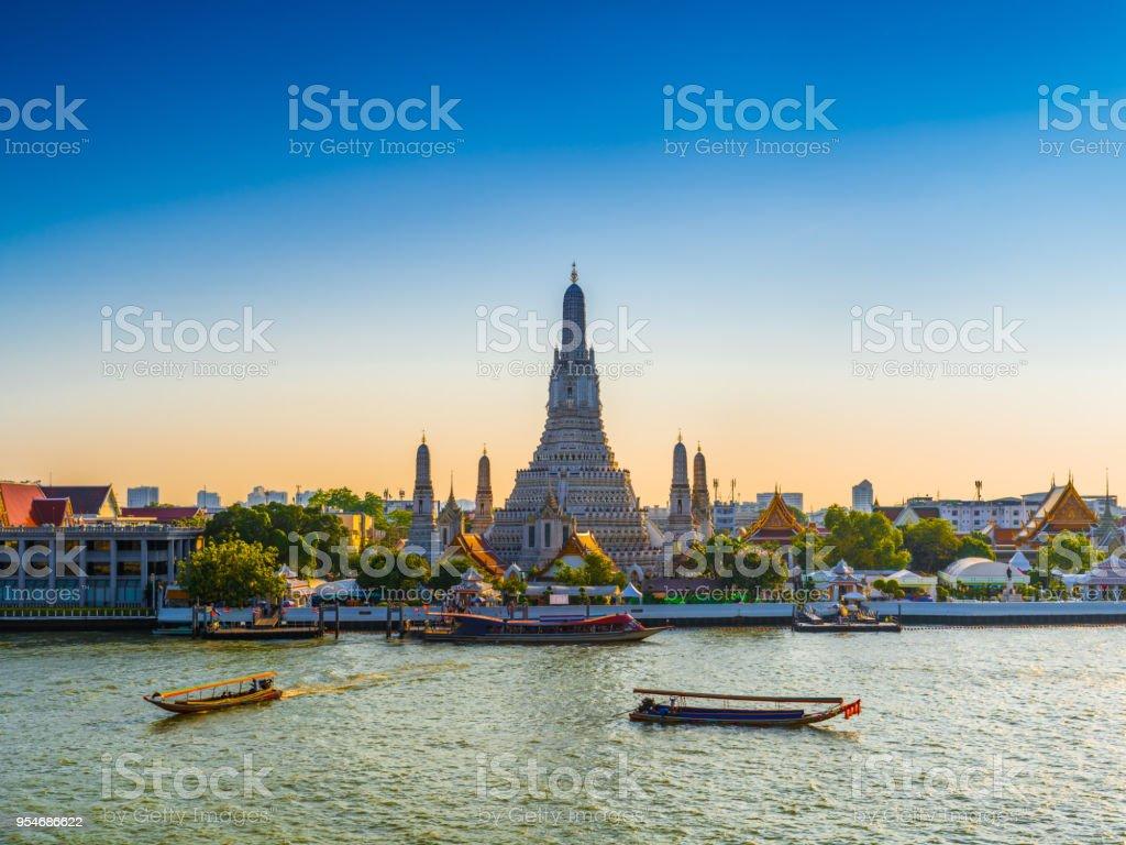 Wat Arun Temple of dawn in Bangkok Thailand stock photo