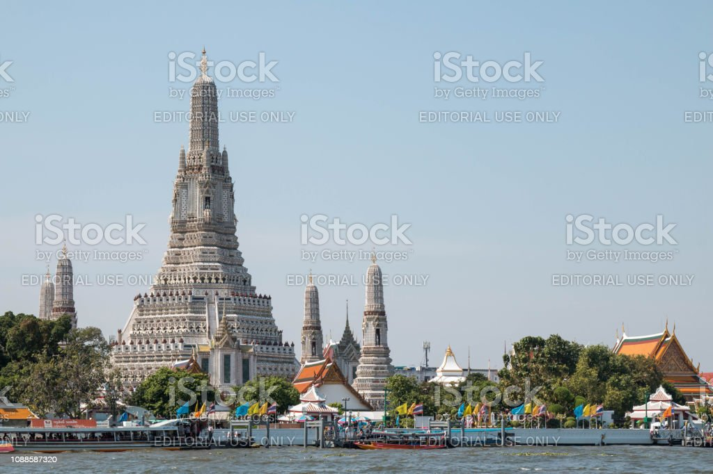 Wat Arun temple, one of landmark Chao Phraya river in Bangkok Thailand,Copy space at the right. stock photo