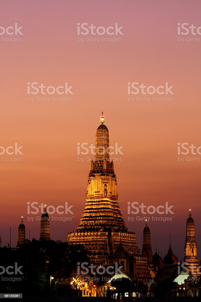 Wat Arun, the Temple of Dawn at sunset, Bangkok royalty-free stock photo