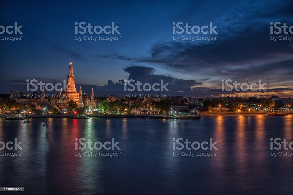 Wat Arun -The Temple of Dawn in Bangkok, Thailand in the sunset time. stock photo