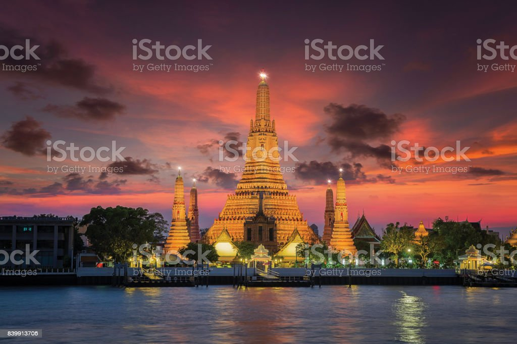 Wat arun with sunset in Bangkok city stock photo