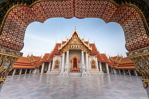The Marble Temple in Bankgok Thailand. Locally known as Wat Benchamabophit the most famaus tourist place in bangkok