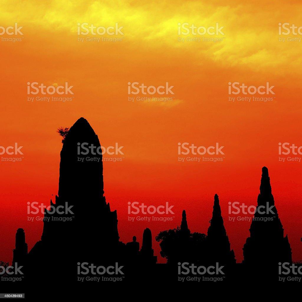 Wat Chai Wattanaram in silhouette. stock photo