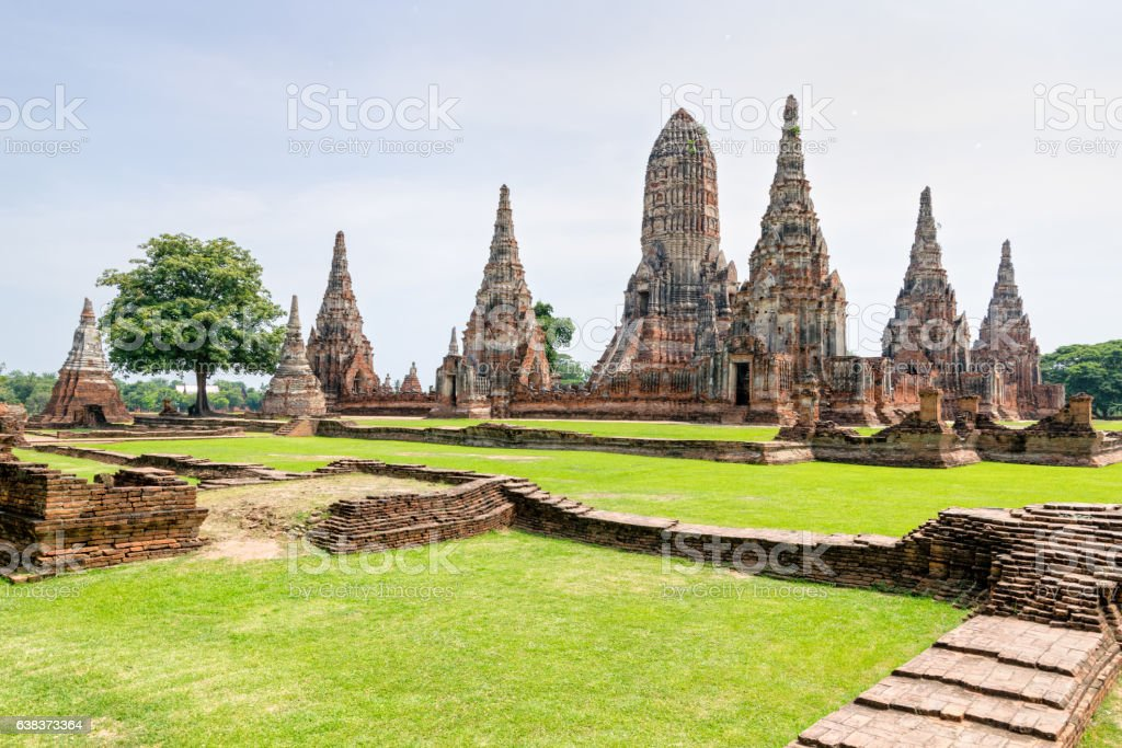Wat Chaiwatthanaram ancient buddhist temple stock photo