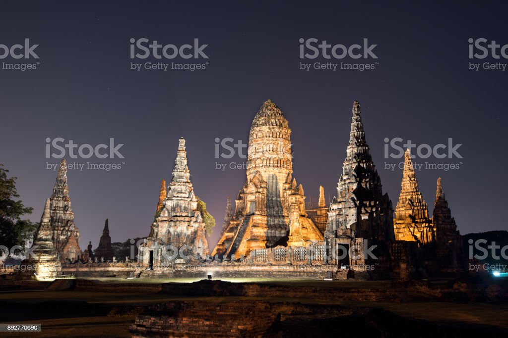 Wat Chaiwatthanaram at twilight, Ayutthaya Historical Park, Thailand stock photo