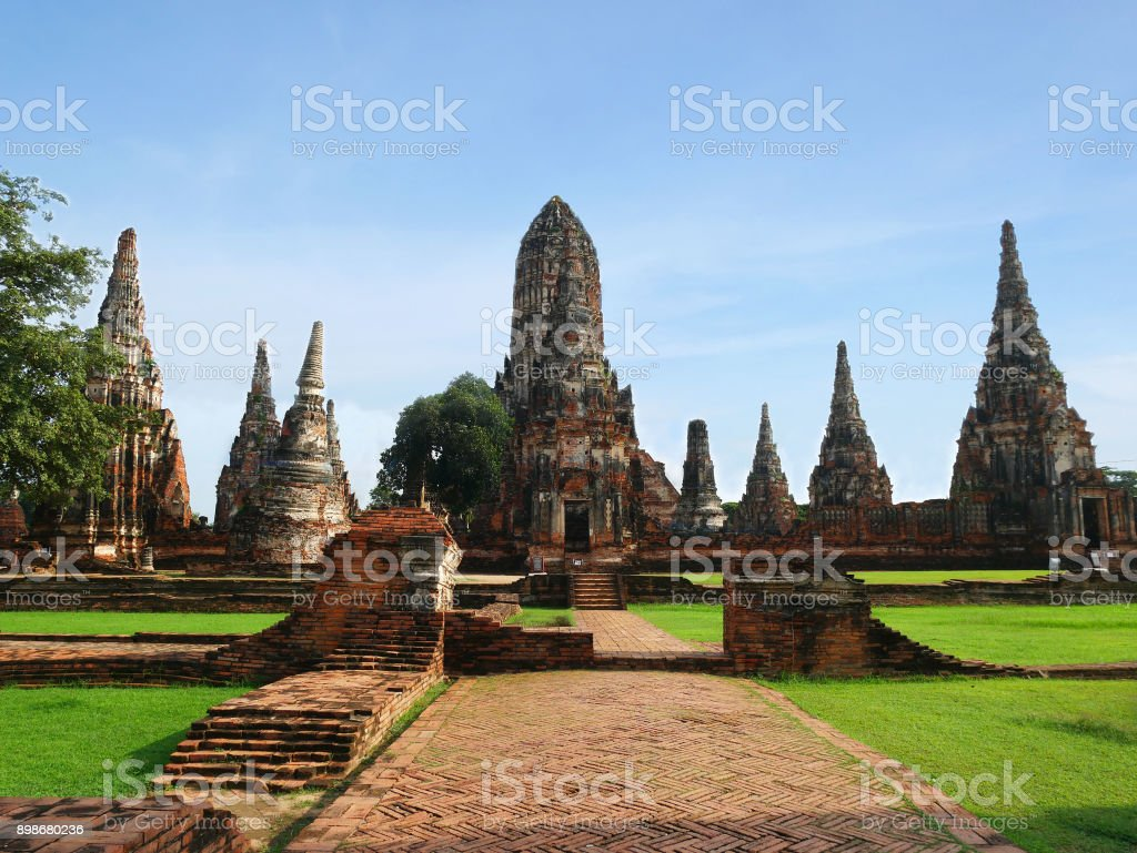 Wat Chaiwatthanaram Buddhist temple stock photo