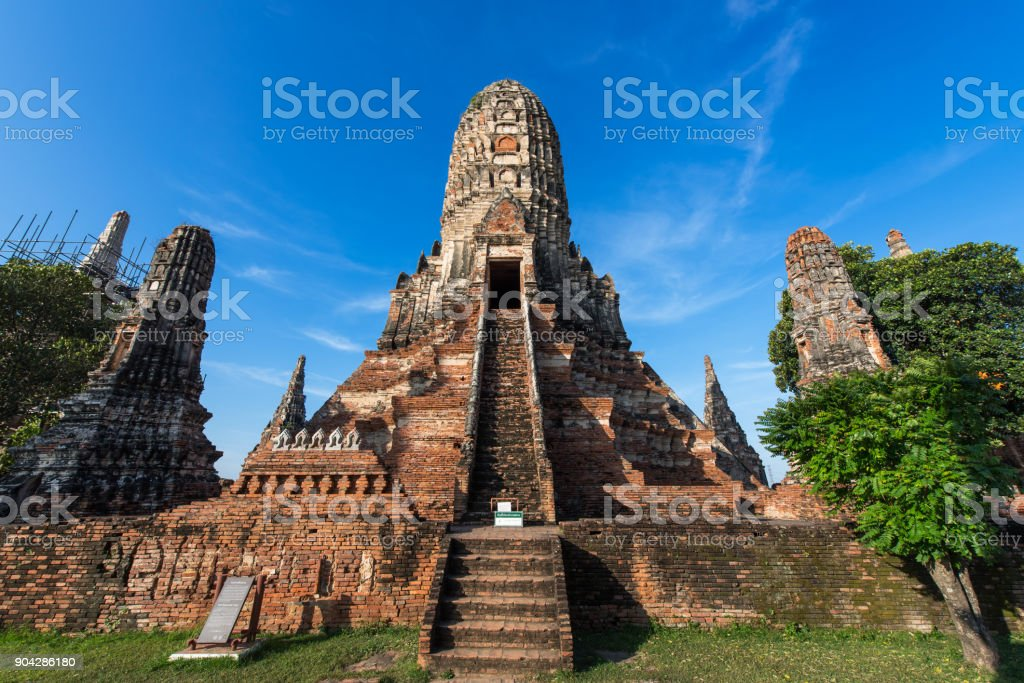 Wat Chaiwatthanaram is ancient Buddhist temple in the Ayutthaya Historical Park, Thailand stock photo