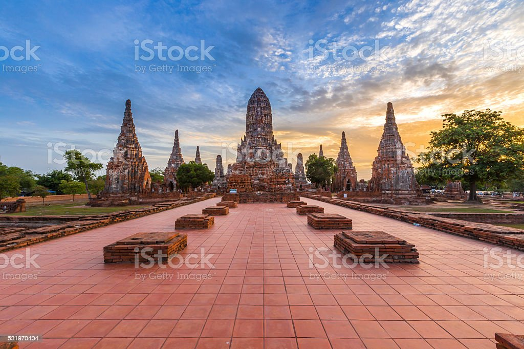 wat chaiwatthanaram temple, ayutthaya, thailand stock photo