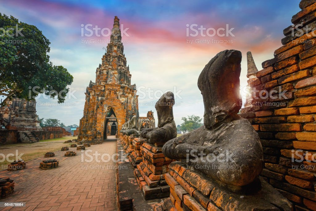 Wat Chaiwatthanaram temple in Ayuthaya Historical Park, a UNESCO world heritage site in Thailand stock photo