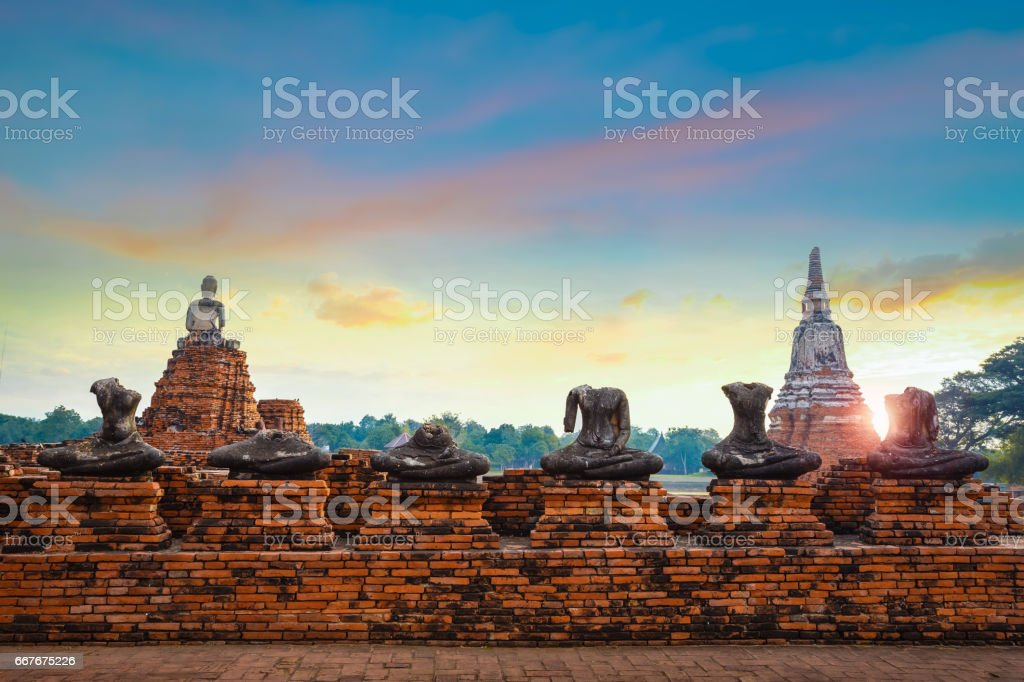 Wat Chaiwatthanaram temple in Ayuthaya Historical Park, a UNESCO world heritage site, Thailand stock photo