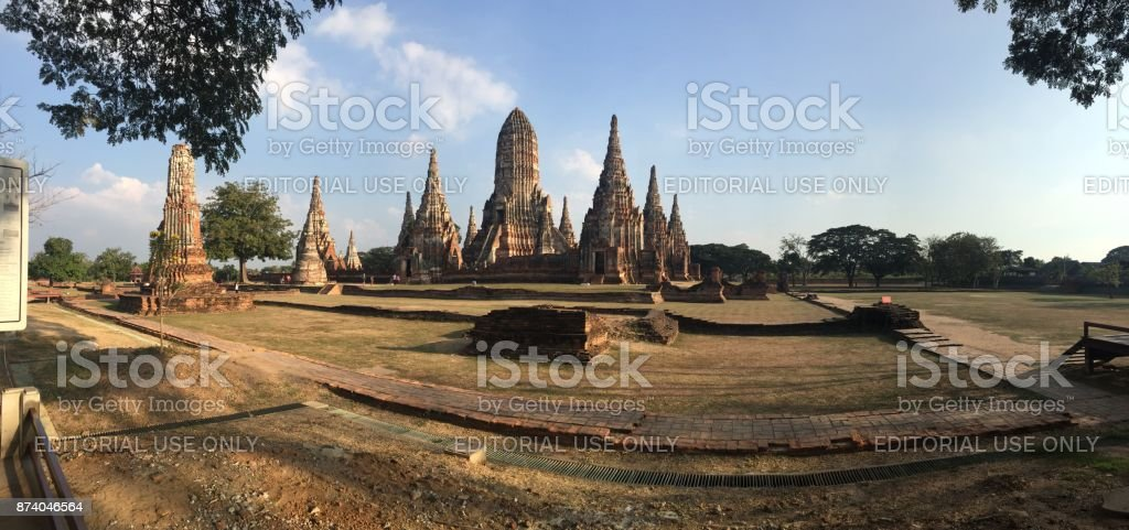 Wat Chaiwatthanaram temple panoramic view stock photo