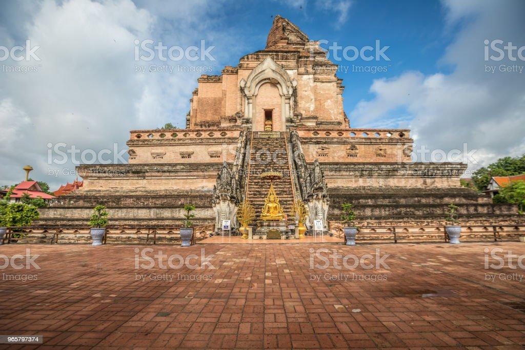 Wat Chedi Luang ruinerna i Chiang Mai - Royaltyfri Arkitektur Bildbanksbilder