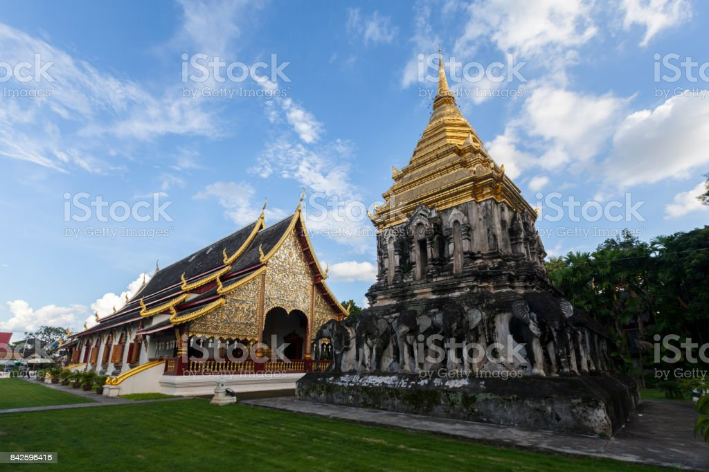 Wat Chiang man, an ancient temple located in the heart of Chiang Mai province stock photo