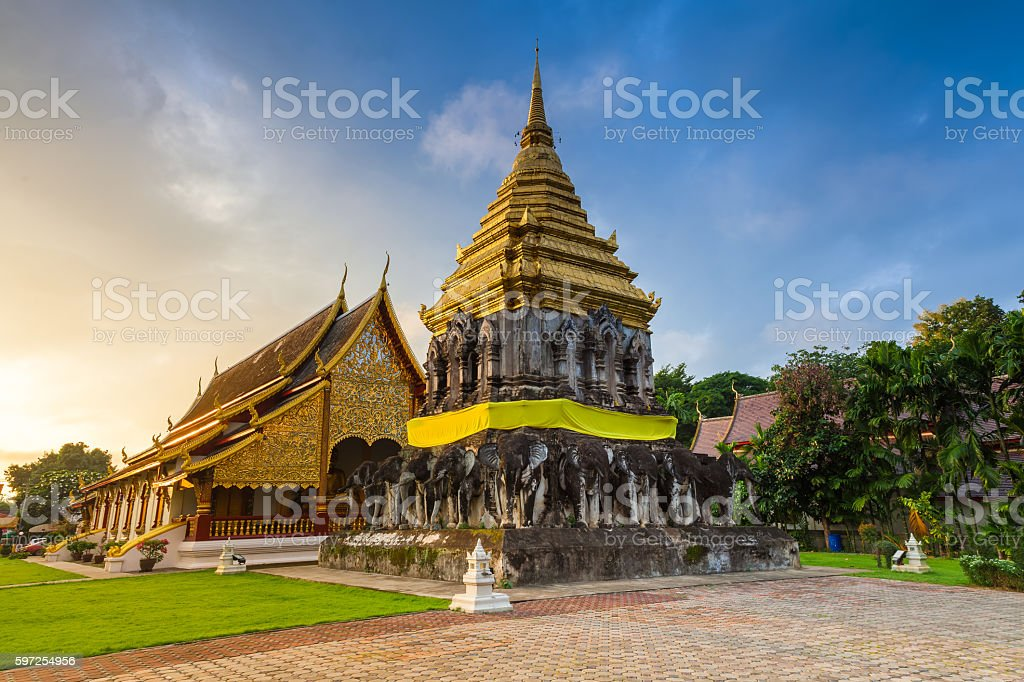 Wat Chiang Man at sunrise, Thailand stock photo
