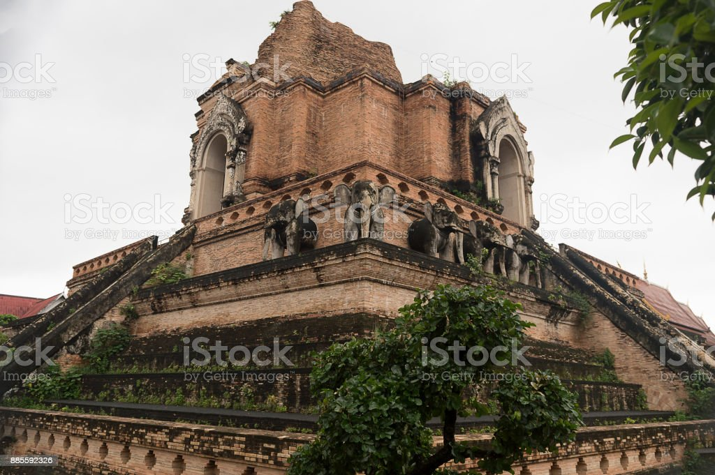Wat Chiang Man was built by Mangrai[1]:209 in 1297 CE as the first temple of Chiang Mai on the location of Wiang Nopburi, a fortified town of the Lawa people which had been used by King Mangrai as a camp during the construction of his new capital city Chi stock photo