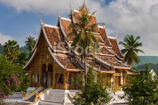 Wat Ho Pha Bang in Luang Prabang, Laos is located at the northeastern corner of the grounds of the Royal Palace Museum. Luang Prabang is a city located in north central Laos and is notable as a UNESCO World Heritage Site